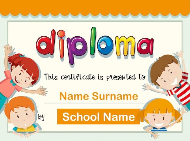 Zertifikatschablone mit vier kindern mit großem lächeln Kostenlosen Vektoren