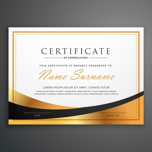 Zertifikatvorlage deisgn mit goldenen Welle Kostenlose Vektoren