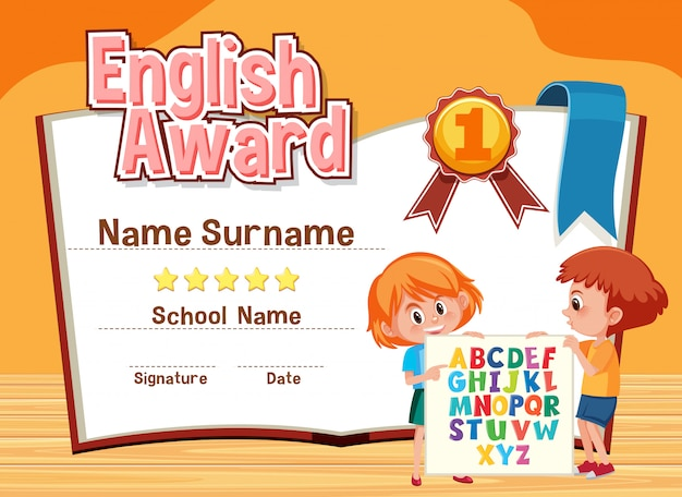 Zertifikatvorlage für englisch award mit kindern in Premium Vektoren
