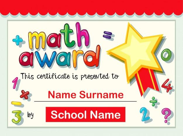 Zertifikatvorlage für Mathe Award | Download der kostenlosen Vektor