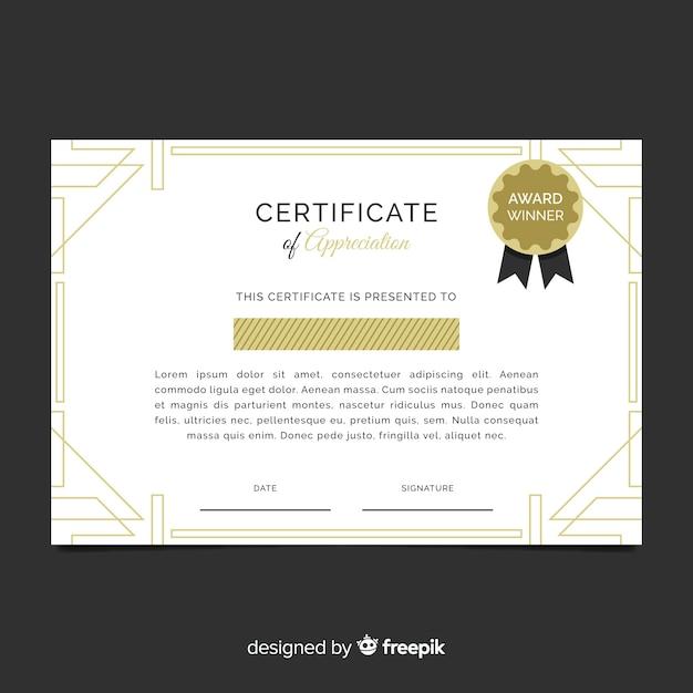 Zertifikatvorlage im flachen Design | Download der kostenlosen Vektor