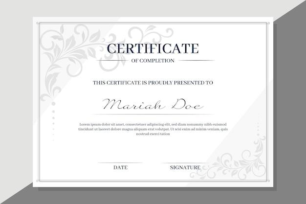 Zertifikatvorlage mit floralen elementen Kostenlosen Vektoren