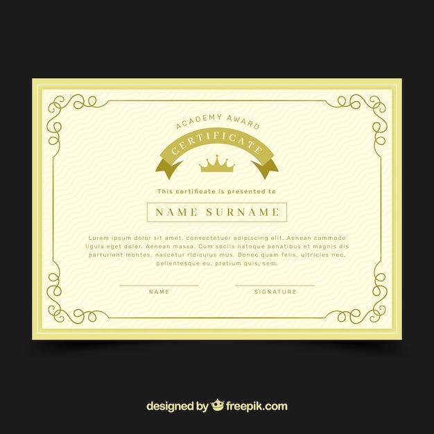 Zertifikatvorlage mit goldener farbe Kostenlosen Vektoren