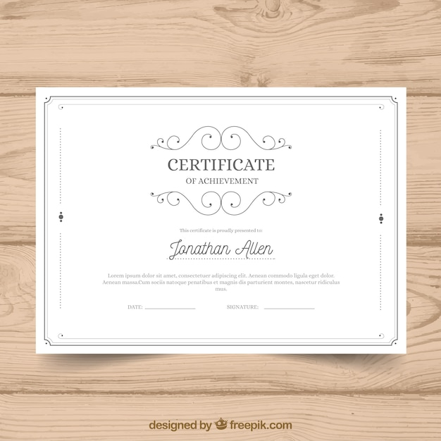 Zertifikatvorlage mit vintage-stil Kostenlosen Vektoren