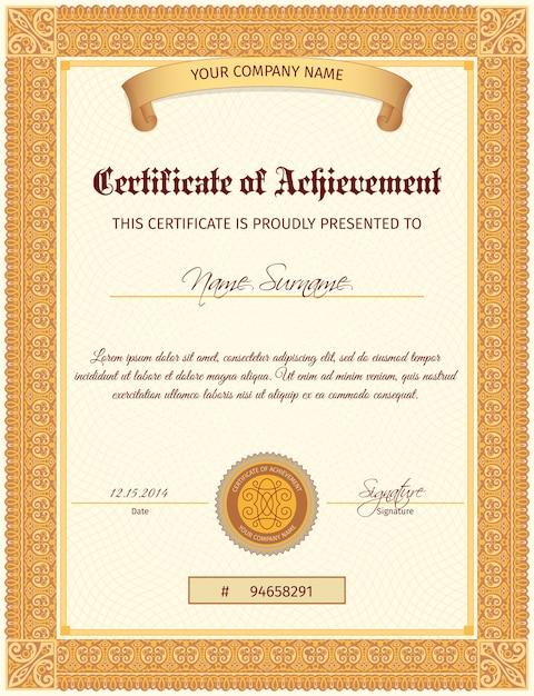 Zertifikatvorlage vertikal   Download der kostenlosen Vektor