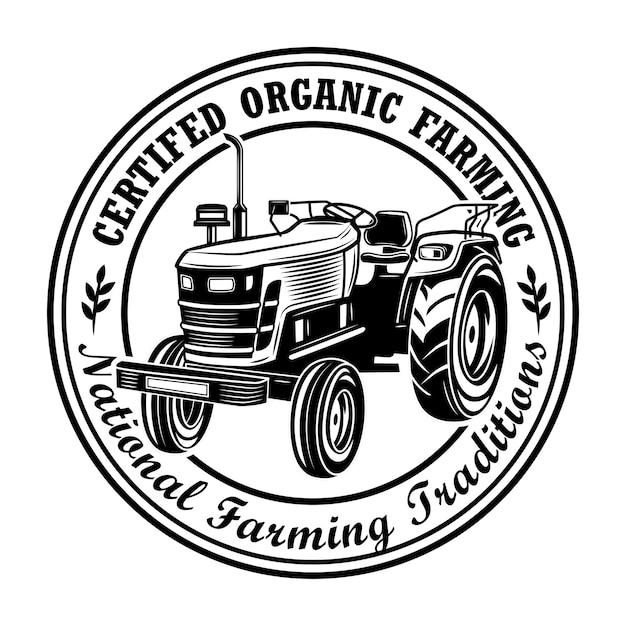 Zertifizierte bio-landwirtschaft stempel vektor-illustration. bauerntraktor, kreisförmiger rahmen, text der nationalen traditionen. landwirtschafts- oder agronomiekonzept für embleme, briefmarken, etikettenvorlagen Kostenlosen Vektoren