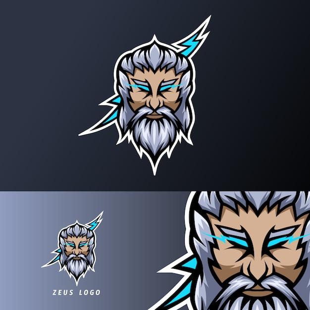 Zeus gott blitz maskottchen sport esport logo vorlage dicken bart schnurrbart Premium Vektoren