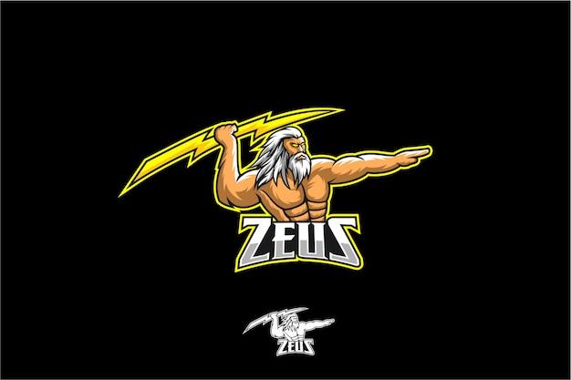 Zeus mit bolzen-maskottchen-sport Premium Vektoren