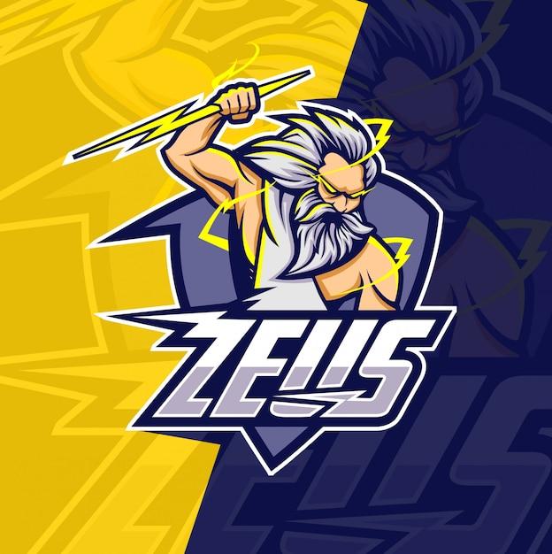 Zeus mit donner maskottchen esport logo design Premium Vektoren