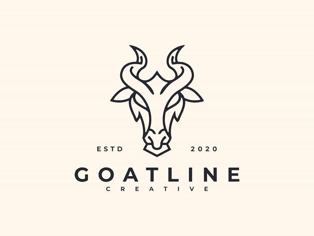 Ziege linie kunst logo design minimalist creative Premium Vektoren