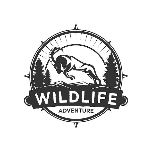 Ziegen-logo-design für wildtiere Premium Vektoren