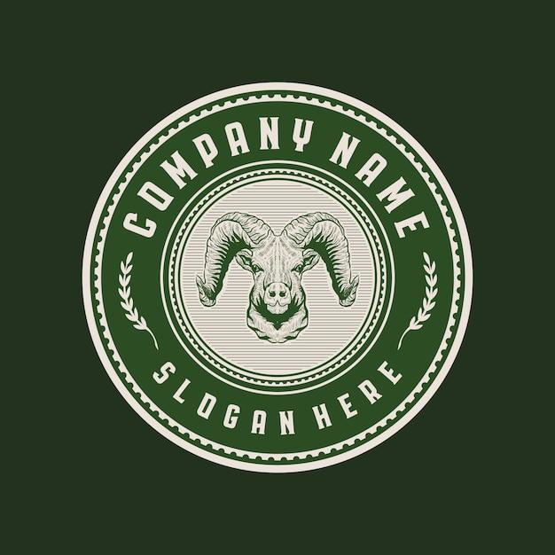 Ziegenkopf vintage kreis abzeichen logo Premium Vektoren