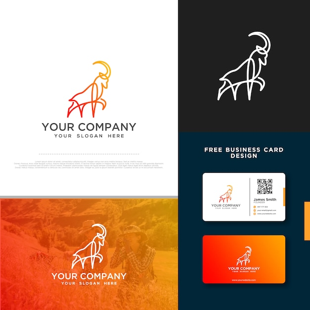 Ziegenlogo mit gratis-visitenkarte Premium Vektoren