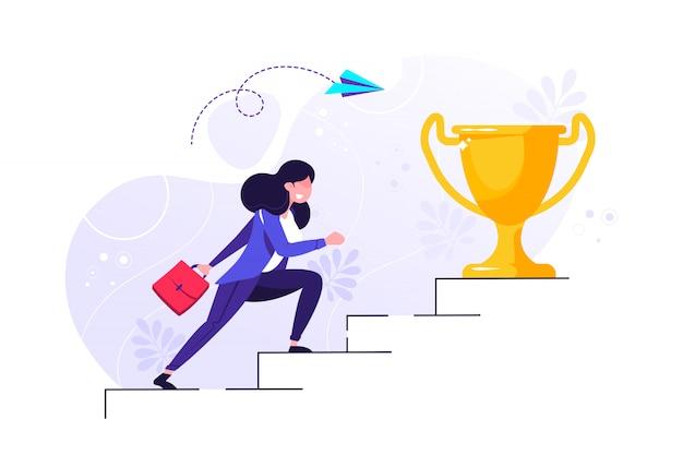 Ziel auf der treppe abbildung Premium Vektoren