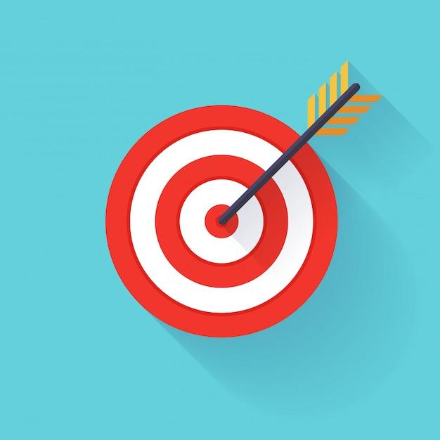 Ziel bullauge oder pfeil auf dem flachen zielsymbol. Premium Vektoren