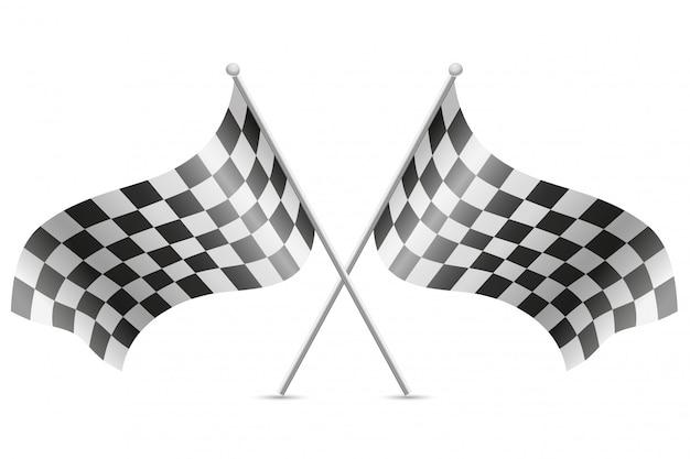 Zielflaggen für autorennenvektorillustration Premium Vektoren