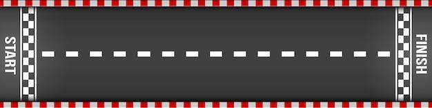 Ziellinie, die draufsicht, kart, asphaltstraße läuft. Premium Vektoren