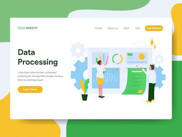 Zielseite. datenverarbeitungs-illustrations-konzept Premium Vektoren