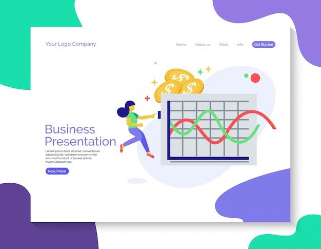 Zielseite der business-präsentation Premium Vektoren