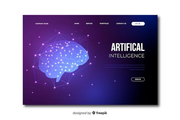 Zielseite der künstlichen intelligenz der schablone Kostenlosen Vektoren