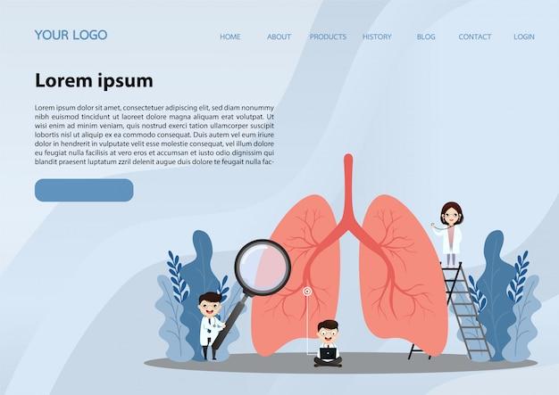 Zielseite der menschlichen lunge Premium Vektoren