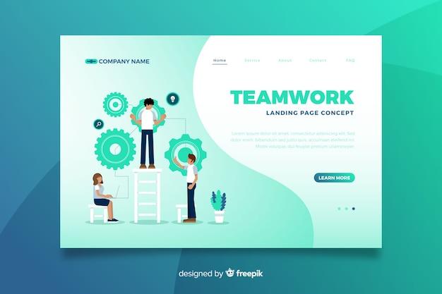 Zielseite der online-plattform von teamwork Kostenlosen Vektoren