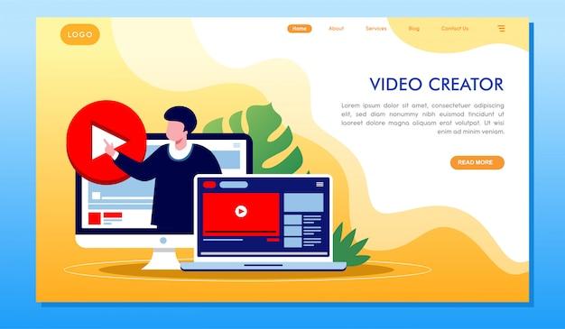 Zielseite der video creator multimedia-entwicklungswebsite Premium Vektoren