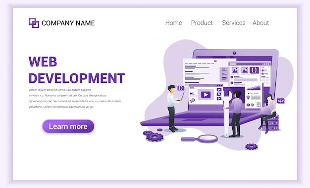 Zielseite der web development programmers Premium Vektoren