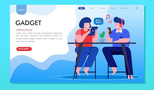 Zielseite der website der gadget-sucht-smartphone-millennials Premium Vektoren