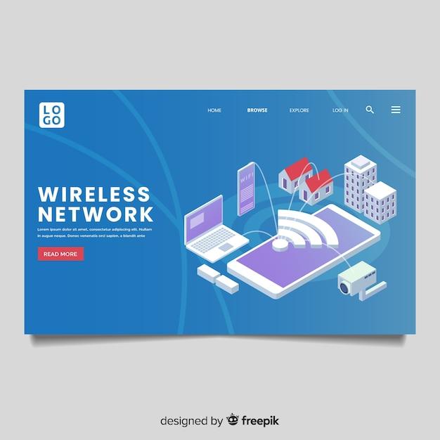 Zielseite des drahtlosen netzwerks Kostenlosen Vektoren