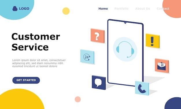 Zielseite des kundensupports und der kundenberatung illustration concept Premium Vektoren