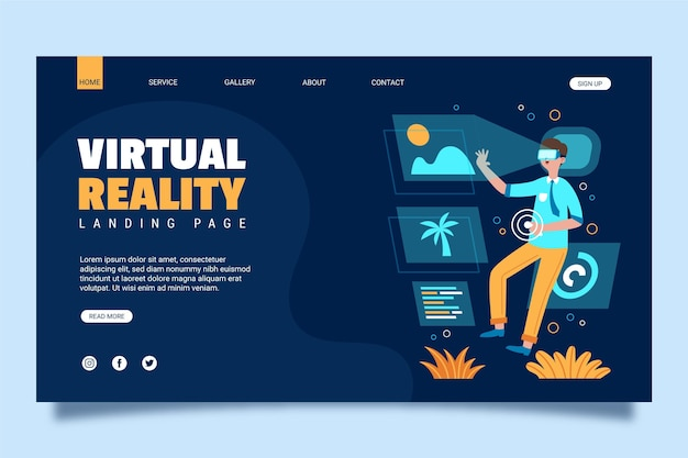Zielseite des virtual-reality-konzepts Premium Vektoren