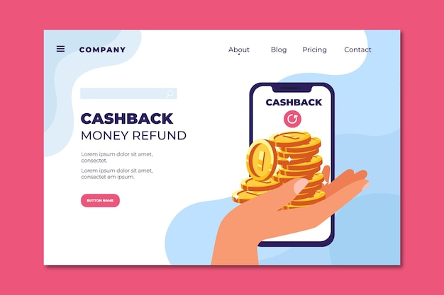Zielseite für cashback-geldrückerstattung Kostenlosen Vektoren