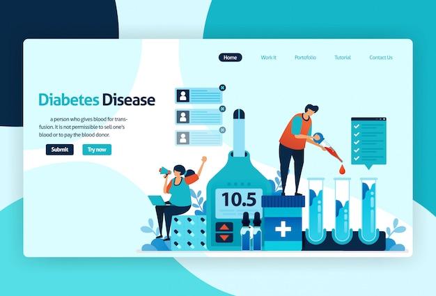 Zielseite für diabeteserkrankungen Premium Vektoren