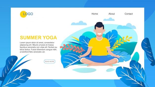 Zielseite für die bewerbung bietet sommer-yoga-training Premium Vektoren