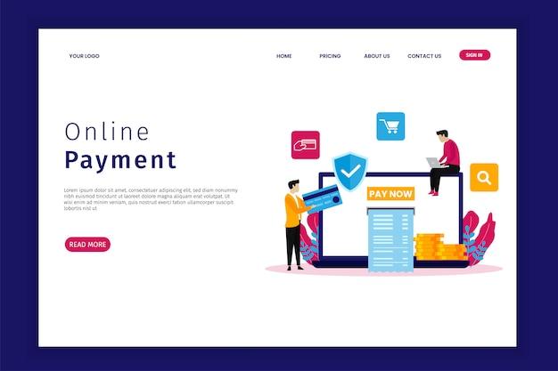 Zielseite für die online-zahlung Premium Vektoren