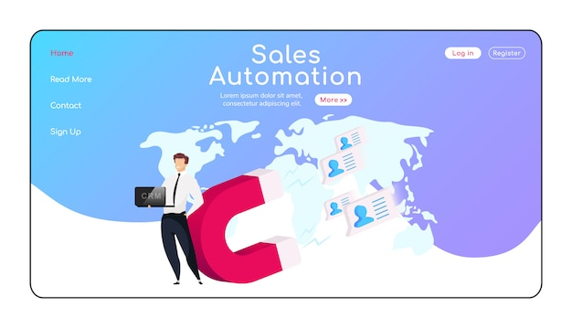 Zielseite für die verkaufsautomatisierung Premium Vektoren