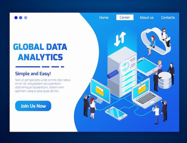 Zielseite für globale datenanalyse Kostenlosen Vektoren