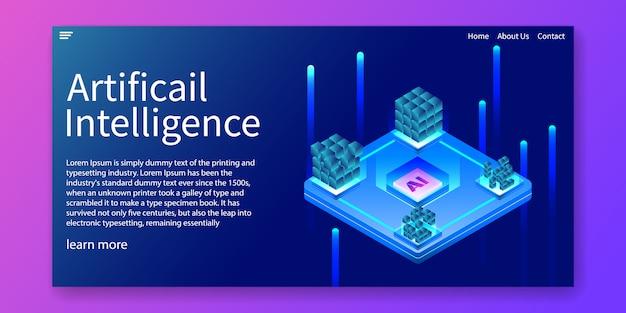 Zielseite für künstliche intelligenz Premium Vektoren