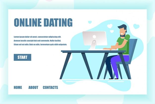 Zielseite für online-dating-service-anwendung Premium Vektoren