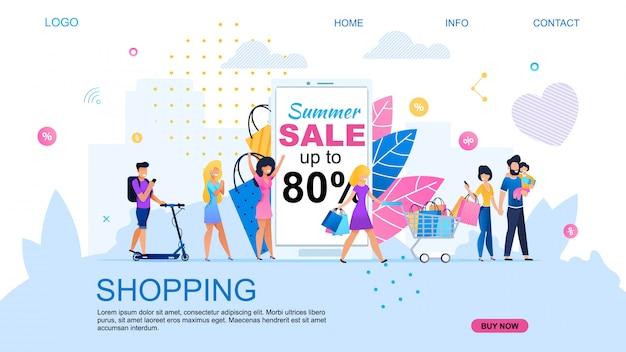 Zielseite für online-shopping mit rabatt. Premium Vektoren