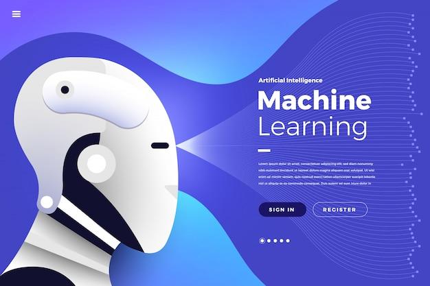 Zielseite künstliche intelligenz Premium Vektoren