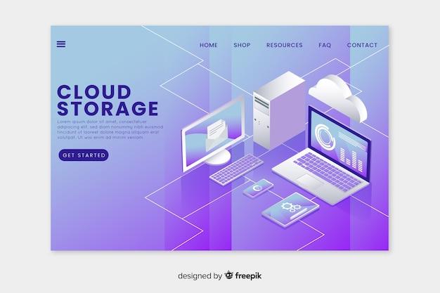 Zielseite mit cloud-speicher Kostenlosen Vektoren