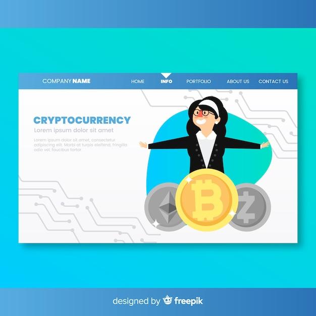 Zielseite mit cryptocurrency-konzept Kostenlosen Vektoren