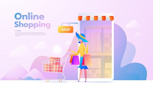Zielseite mit e-commerce-käufer. internet items. junge frau online einkaufen. vektorzeichnungen. menschen interagieren Premium Vektoren