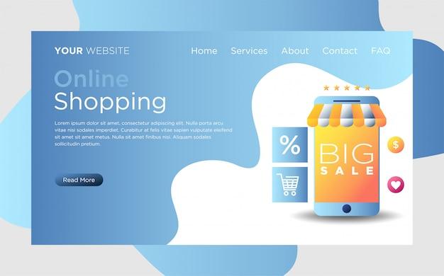 Zielseite mit online-shopping Premium Vektoren