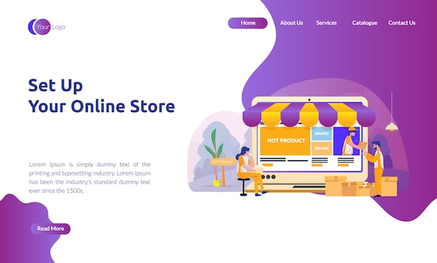 Zielseite von online-shop einrichten Premium Vektoren