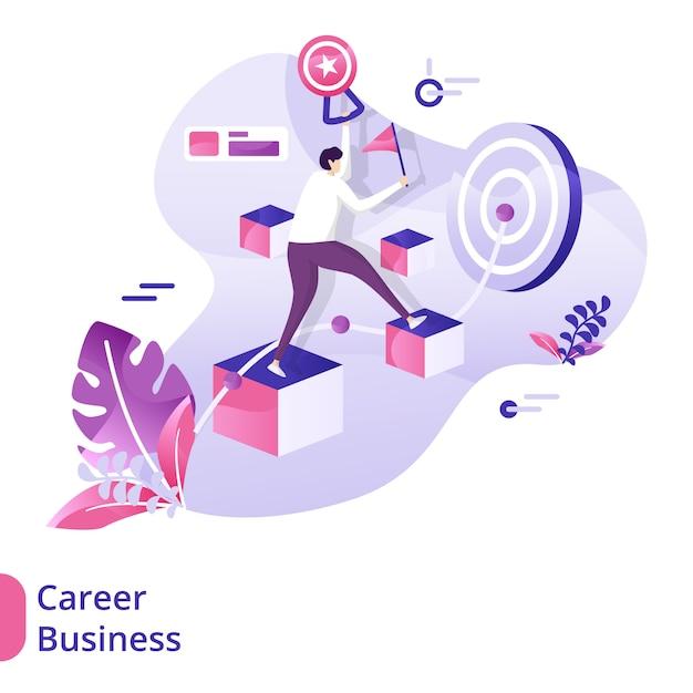 Zielseiten-karriere-geschäfts-illustrationskonzept Premium Vektoren