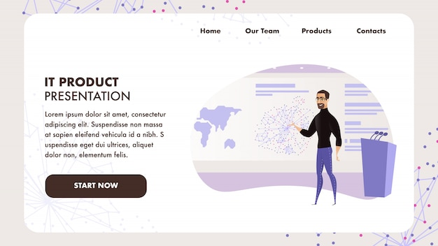 Zielseiten-netzschablone mit dem flachen illustrations-bärtigen mann, der öffentliche rede gibt Premium Vektoren