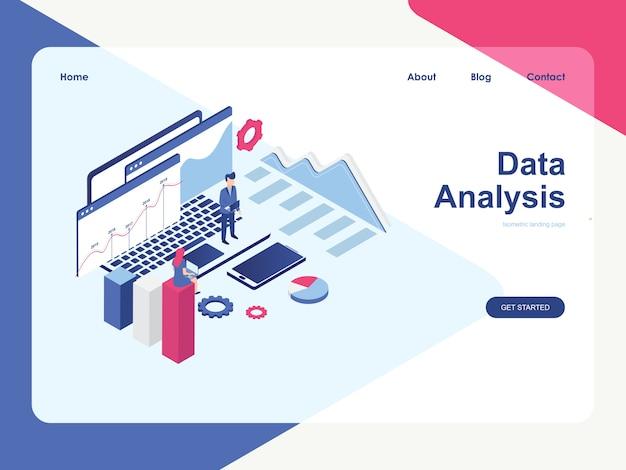 Zielseiten-webvorlage. datenanalysekonzept, moderne flache isometrische Premium Vektoren